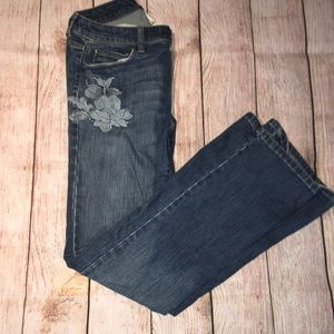 WHBM Blanc Embroidered Bootcut Jeans *HP*